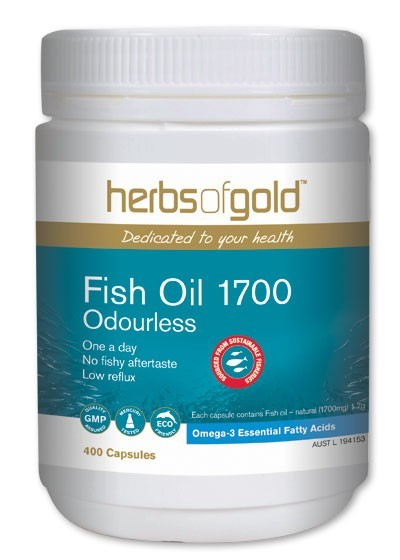 Herbs of gold odourless fish oil 1700 free shipping over for Fish oil for eczema