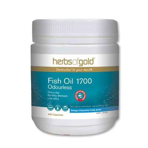 Herbs of Gold Odourless Fish Oil 1700 - 200 capsules